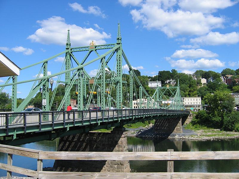Looking two blocks east, view the engineering landmark of the Northampton Street Bridge over the Delaware River.