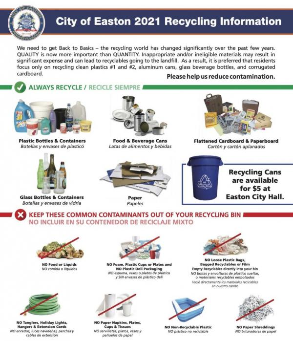 City of Easton 2021 Recycling Information