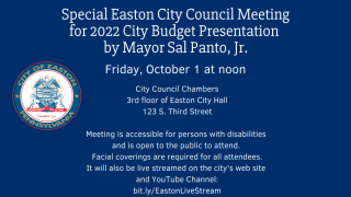 Mayor's 2022 City Budget Presentation to Easton City Council