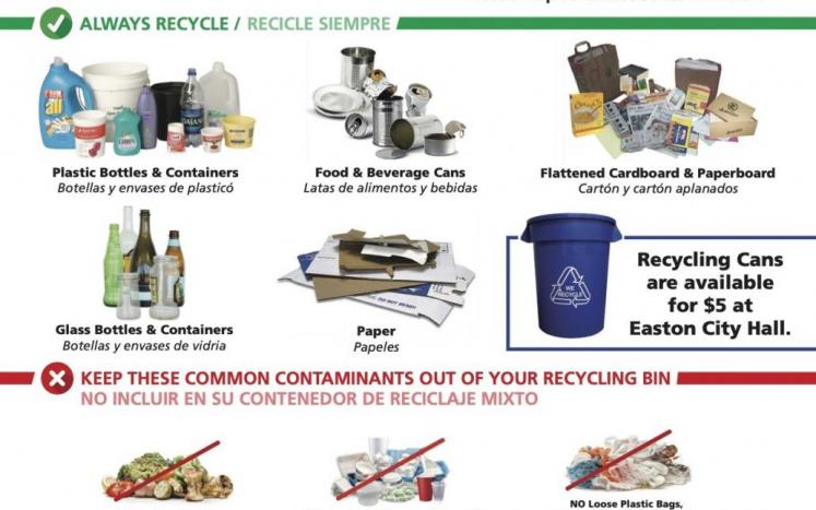 City of Easton residential recycling