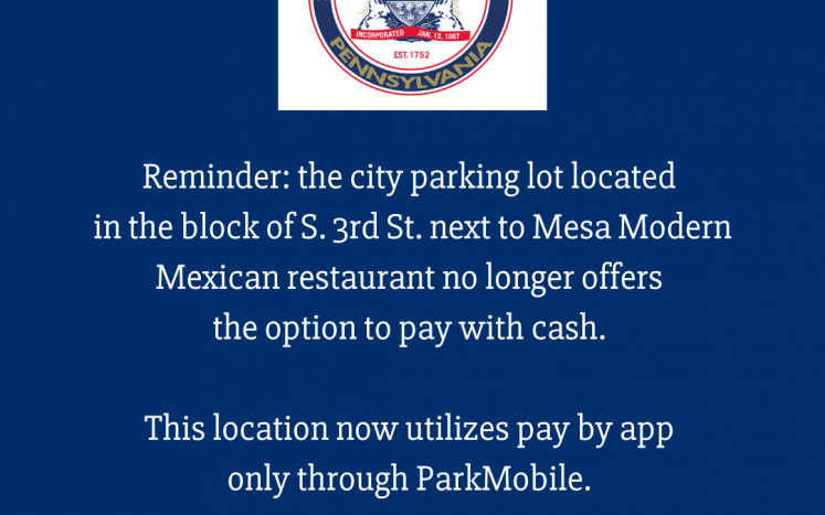 S. 3rd. St. Parking Lot now pay by app only with ParkMobile