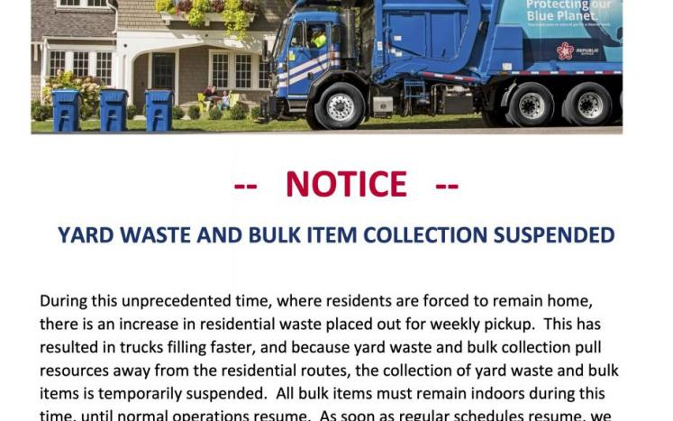 Yard Waste & Bulk Item Collection Temporarily Suspended